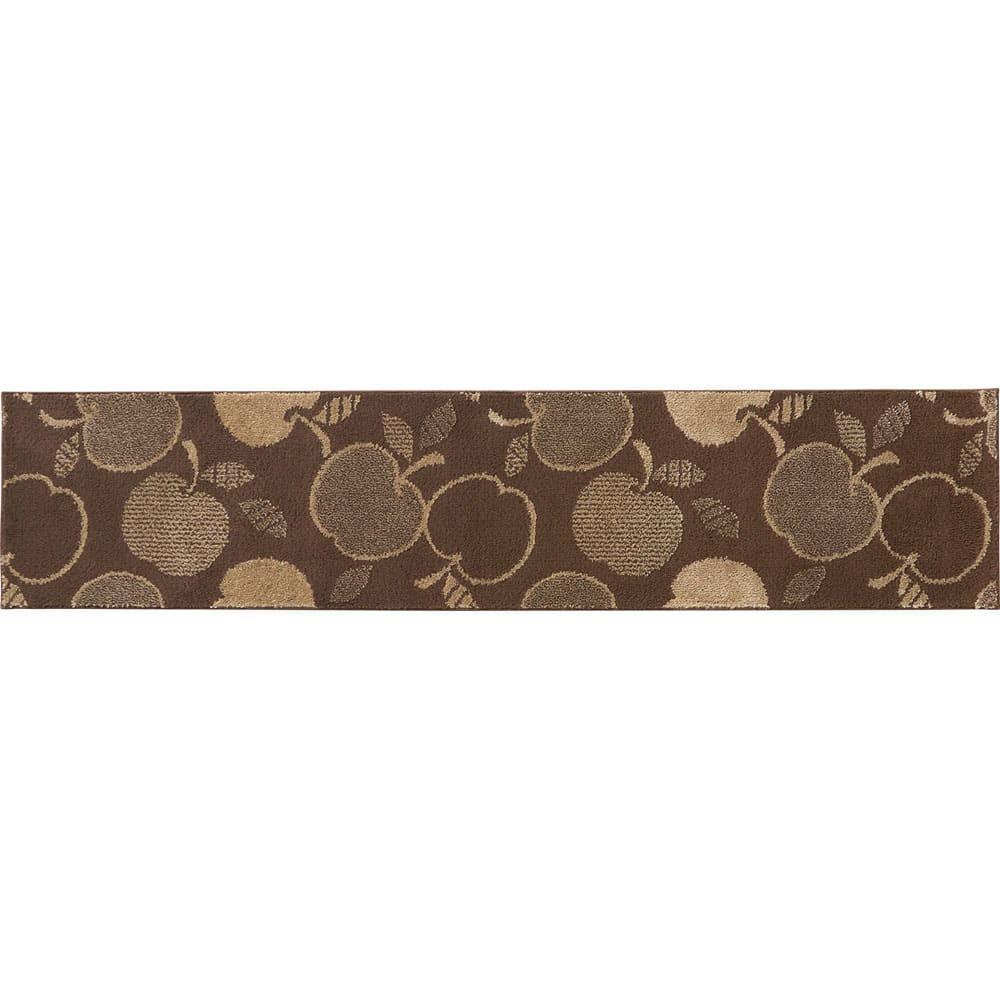 消臭汚れにくいキッチンマット(バラ柄・シダ柄・リンゴ柄) (キ)リンゴ柄ブラウン ※写真は約60×270cmタイプです。