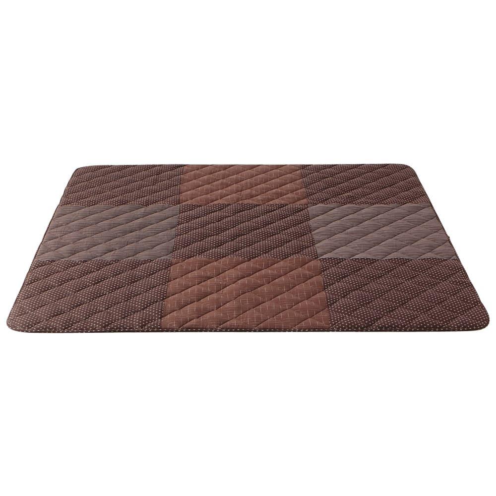 はっ水しじら織パッチワークこたつシリーズ こたつ敷き(厚さ約1.3cm) (ウ)ブラウン系 正方形