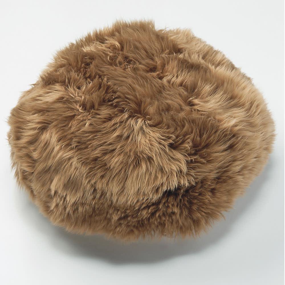 ミックスムートン クッション 円形(約径50cm) (オ)ダークブラウン系