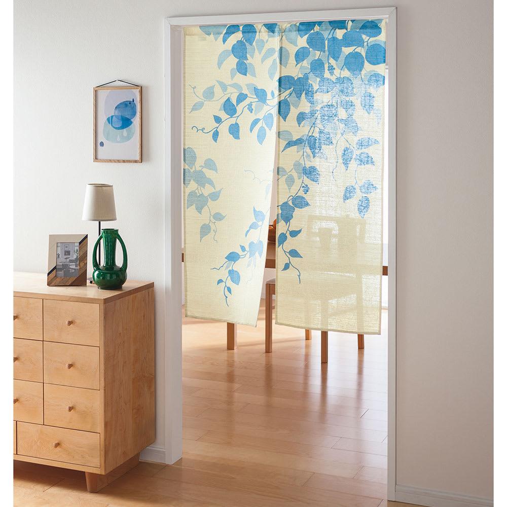 のれん「風葉」 約幅85cm (ウ)ブルー ※写真は約幅85×丈120cmタイプです