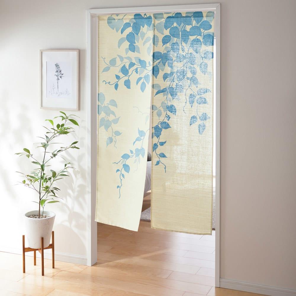 のれん「風葉」 約幅85cm コーディネート例(ウ)ブルー ※写真は約幅85×丈150cmタイプです
