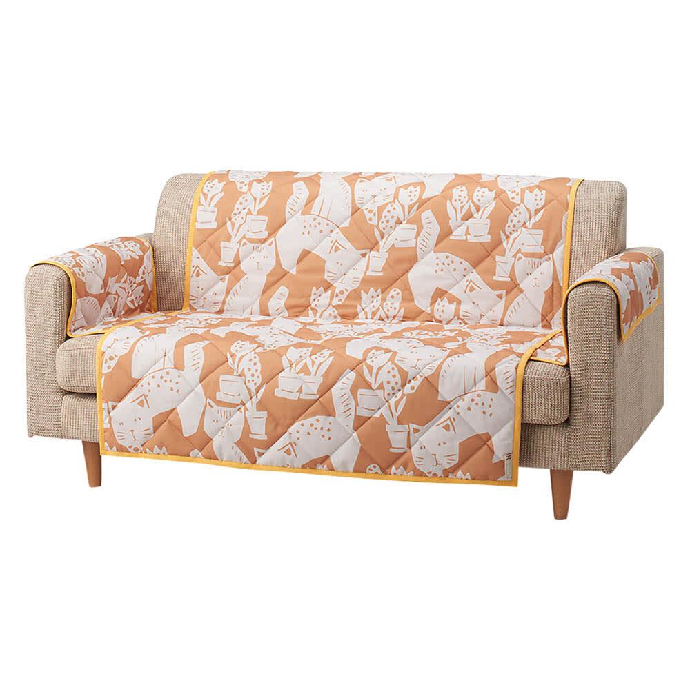 Roselleプラス テキスタイル〈マトロスキン〉 ソファカバー アーム付き (ア)オレンジ ※写真は2人掛タイプです。お届けは1人掛タイプとなります。