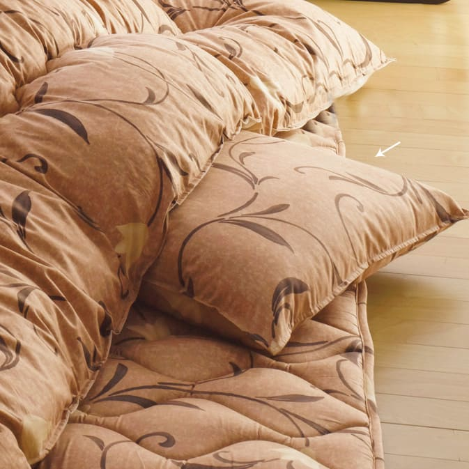 京都西川はっ水こたつシリーズ 座布団カバー(同色5枚組) 55×59cm (ウ)ブラウン