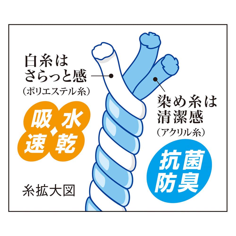北欧調抗菌防臭吸水トイレタリー フタカバー(洗浄暖房器用)・マットセット 2種類の糸の効果 吸水速乾・抗菌防臭 吸水性に優れたポリエステル糸と、抗菌防臭加工のアクリル糸をよった素材。