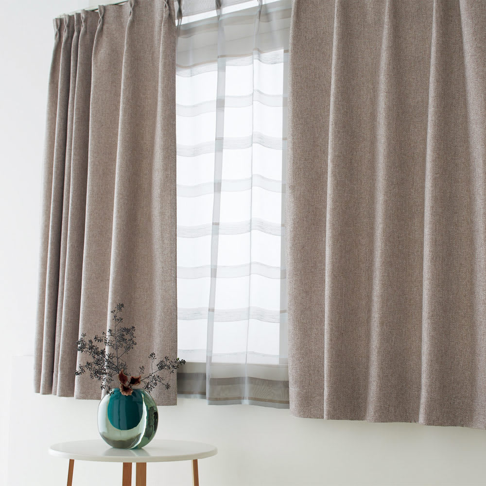 ドレープが美しいツイード調 100サイズカーテン 幅150cm(2枚組) ベージュ ※お届けはカーテンです。