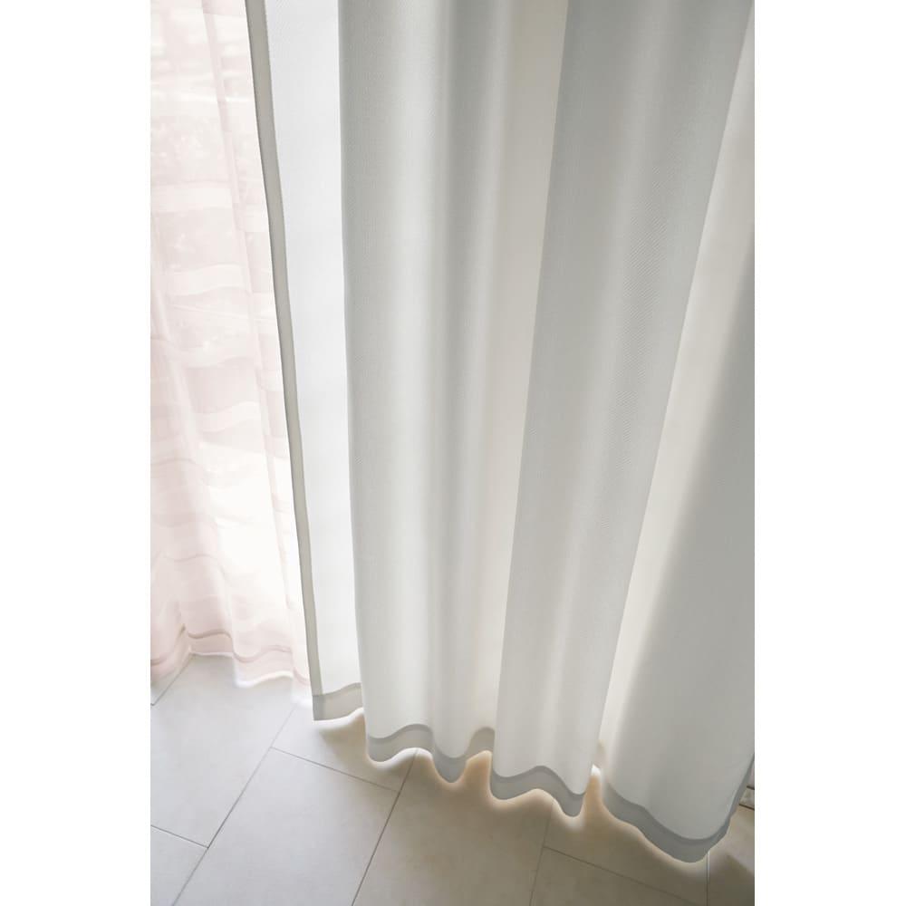 ドレープが美しいツイード調 100サイズカーテン 幅150cm(2枚組) ホワイト