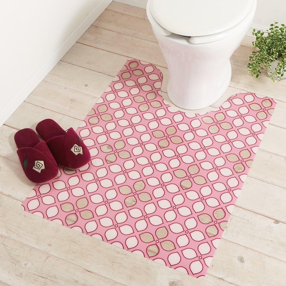 プリントトイレマット〈ライラック〉 (イ)ピンク系 ※写真は大判サイズです。