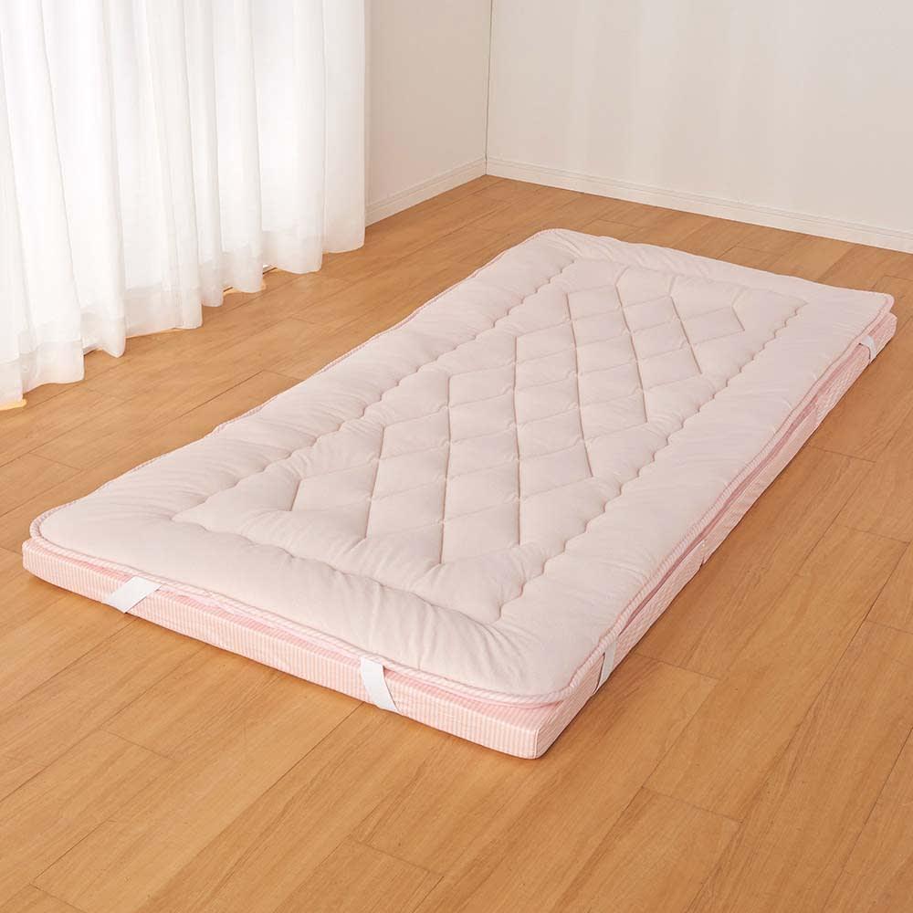 吸汗わたで汗かく夏に最適!麻混吸湿システム敷布団 洗い替え用パッド上層のみ (ウ)ストライプピンク ※パッドのみのお届けとなります。マットレスは含まれません。