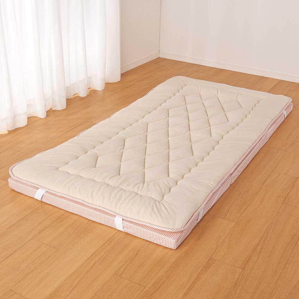 吸汗わたで汗かく夏に最適!麻混吸湿システム敷布団 洗い替え用パッド上層のみ (エ)ストライプブラウン  ※パッドのみのお届けとなります。マットレスは含まれません。