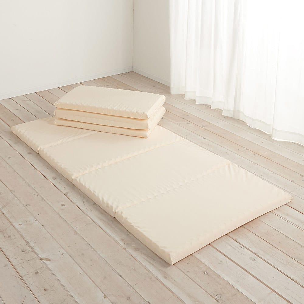 4つ折り軽量敷布団 本体のみ 上からセミシングル、シングルサイズ
