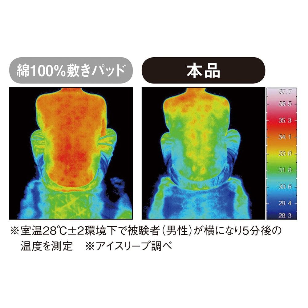 デオアイス ひんやり敷きパッド シングル (旧モデル) ≪接触冷感≫肌面に使っている高分子ポリエチレンは熱伝導率が高く、ふれた瞬間ひんやりサラサラの肌ざわりです。