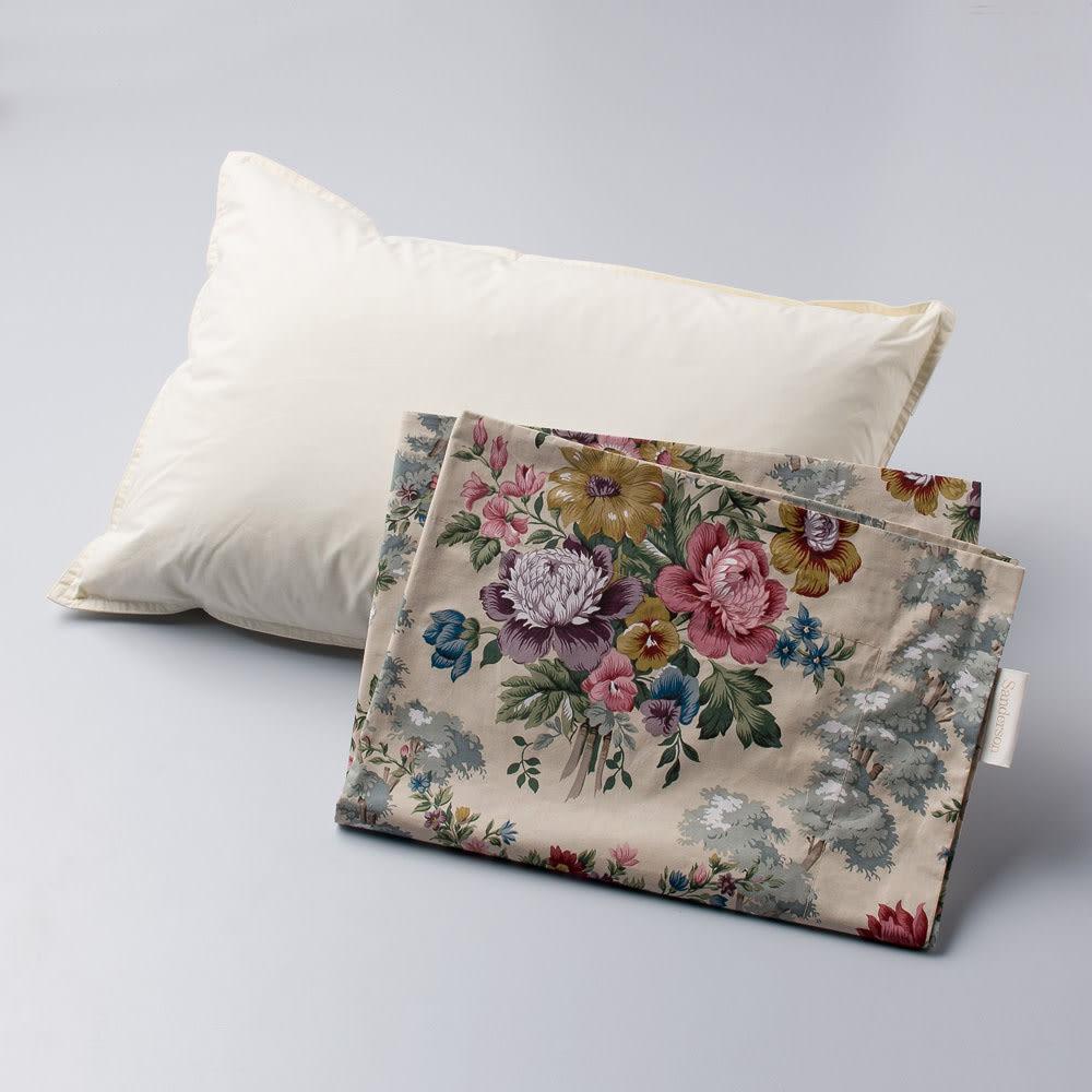 【西川産業(東京西川)】Sanderson/サンダーソン 羽根枕(ピローケース1枚付) ピロー本体とピローケース1枚のセットでお届けします