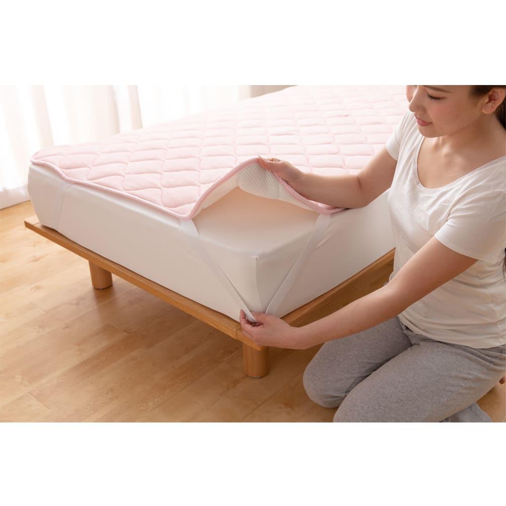 お得なファミリー寝具セット幅240cm [アクアジョブ(R)パッドシーツ]4隅ゴムで着脱簡単。(※イメージ画像)