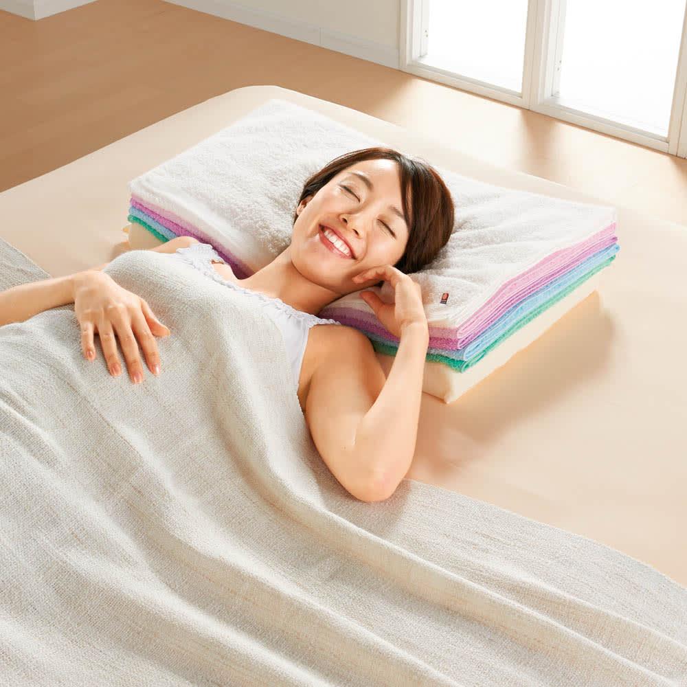 まくら株式会社×バスリエ×ディノス3社共同企画 今治バスタオルピロー 【ディノス先行発売】これは一体「枕」なのか?それとも「バスタオル」なのか…?今治タオル枕
