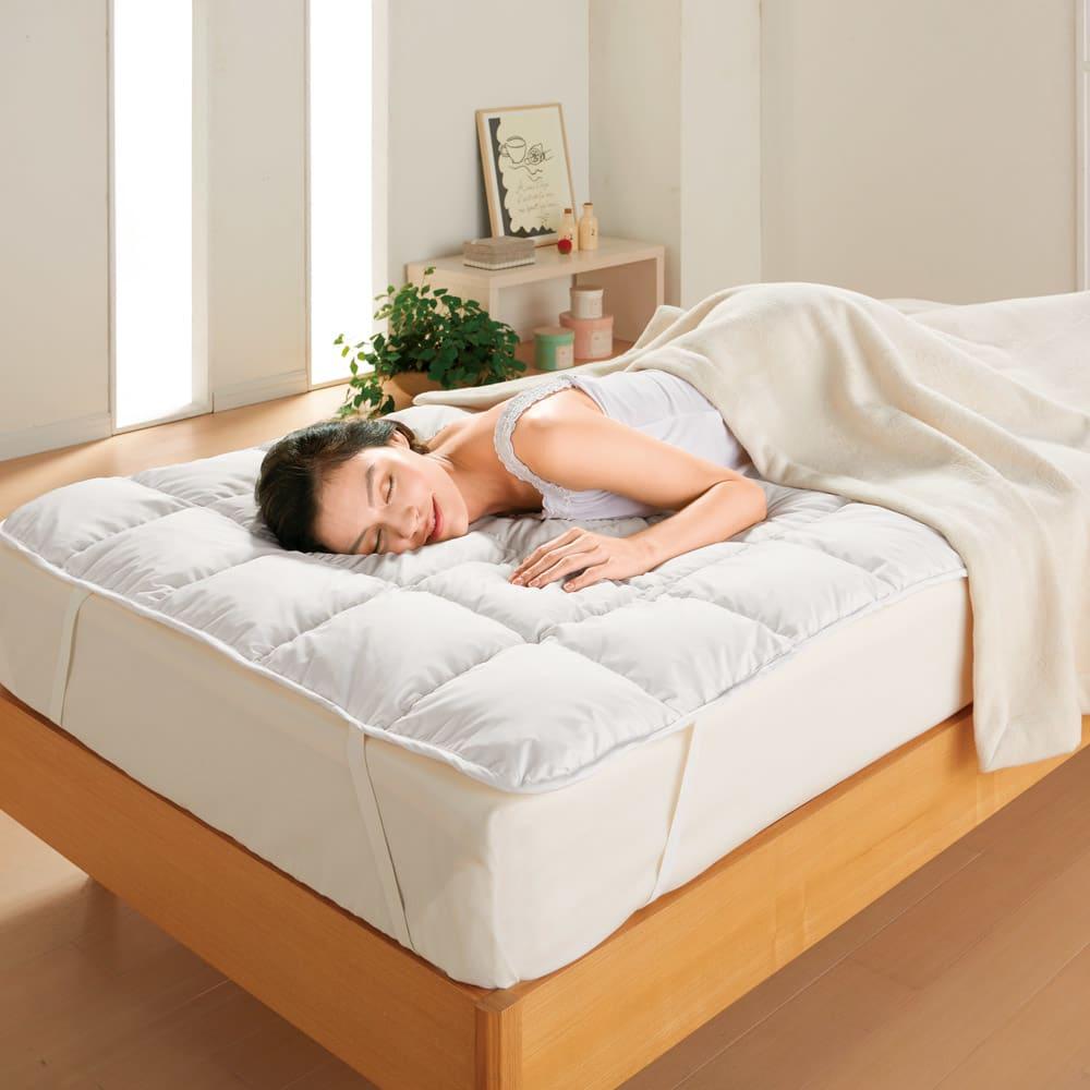 敷く羽毛布団!羽毛敷きパッド 敷く羽毛布団!羽毛のふっかふかな寝心地で、極上のひとときを…。