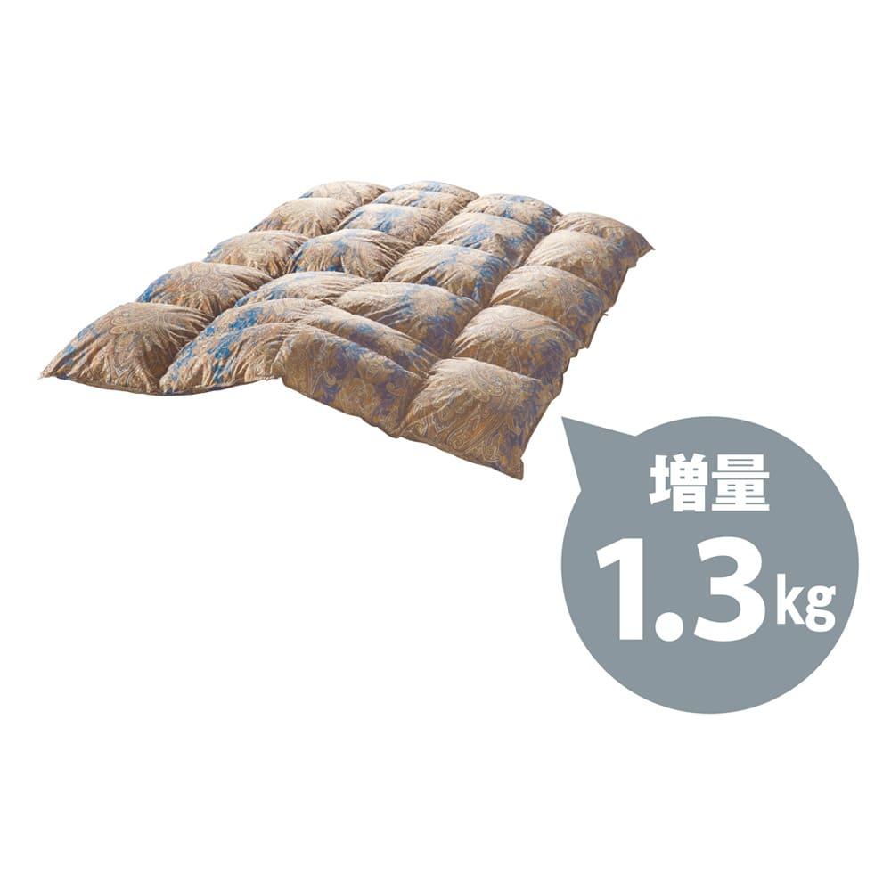 【西川リビング】フランス産羽毛 布団6点セット(シングルロング) 銀 6点セット (イ)ネイビー系 銀のみ、羽毛を増量して1.3kgも使用しました。