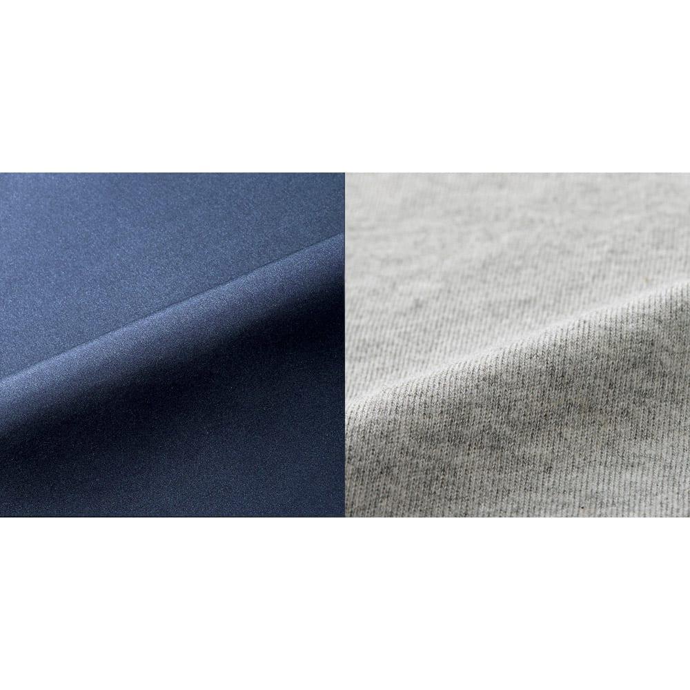 バージョンアップしました!昨冬人気のテイジンV-Lap(R)使用 着る布団シリーズ 肩カバー (イ)ネイビー  左:表地の軽量生地 右:裏地の綿ニット