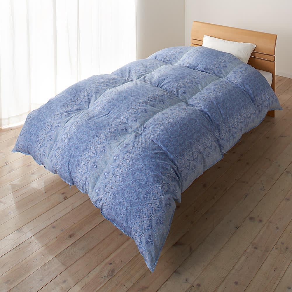 京都西川 特選2層式羽毛布団 レギュラータイプ シングルロング お得な2色組 ブルー系