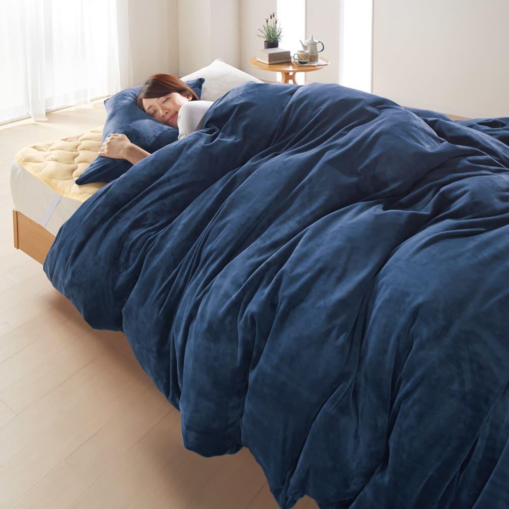 布団を包めるなめらか毛布シリーズ 枕カバー(同色2枚組) 左から(ア)ネイビー (イ)アイボリー