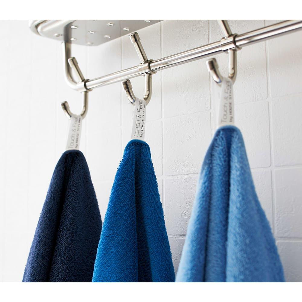 Blue on Blue (ブルーオンブルー)タオル バスタオル 色が選べる2枚 ネームタグはフックにかけて大活躍。