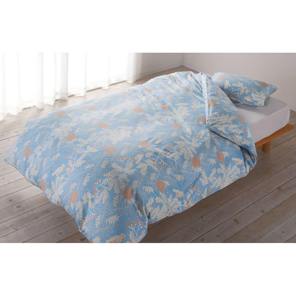 北欧からの贈り物シリーズ カバーリング ピローケース同色2枚組 (イ)ブルー 羽毛布団・掛けカバーとの同柄セット使いがおすすめ!お得な布団&カバーセットもご用意しています。※お届けはピローケースです。