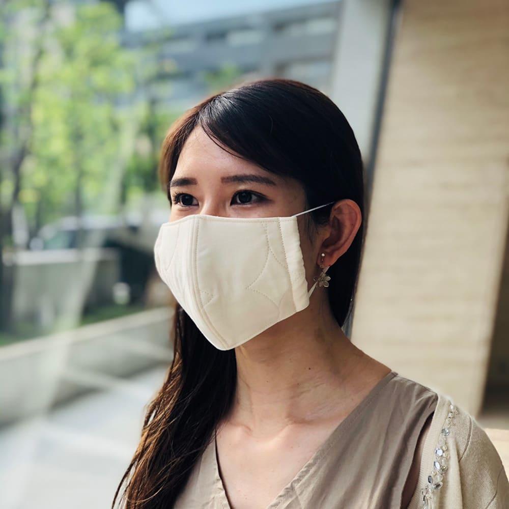 パシーマの生地でつくったマスク 大人用サイズ2枚組 (出来上がり寸約10.5×17.5cm) (着用例)大人用サイズ
