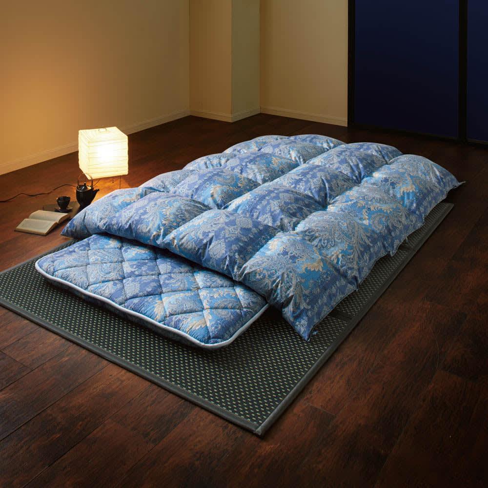 バーゲン寝具シリーズ お得な掛け+敷きセット レギュラータイプ (イ)ブルー系 ※写真はライトタイプです。