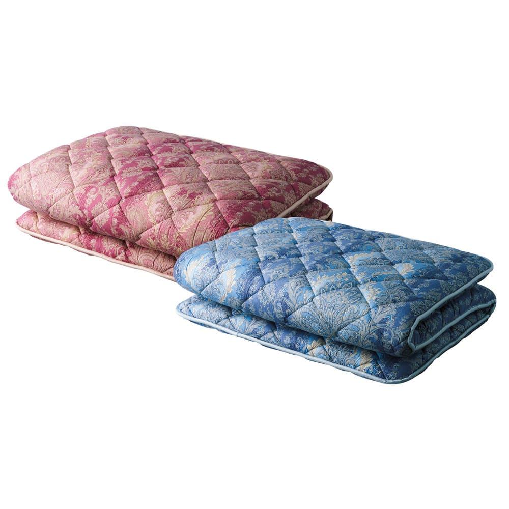 バーゲン寝具シリーズ お得な掛け+敷きセット レギュラータイプ 左から(ア)ピンク系 (イ)ブルー系 抗菌防臭・防ダニわた敷布団 抗菌防臭・防ダニわたの清潔敷布団は、寝心地もとてもグッド!身体をしっかりと支え、快適な寝姿勢をキープします。