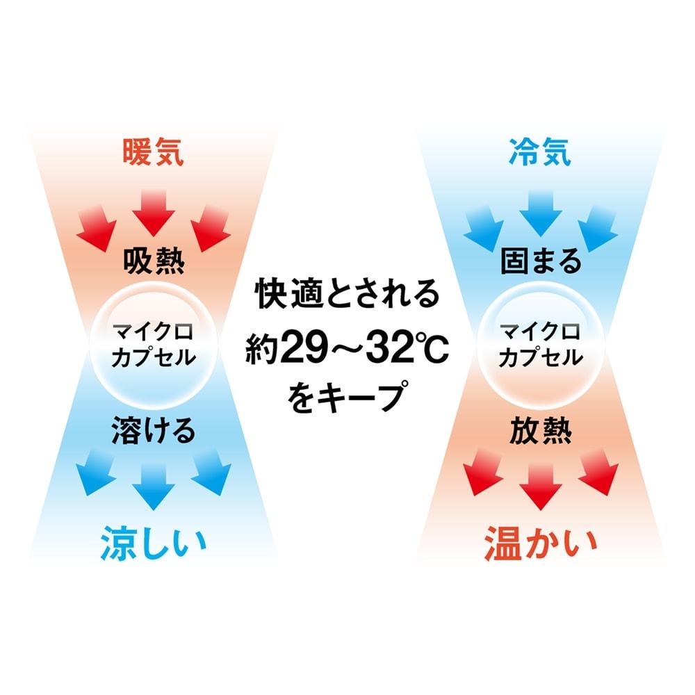 1年中使えるふんわりニットの調温シーツ&カバー 掛け布団カバー 調温シーツ&カバーがオールシーズン快適なヒミツ 調温マイクロカプセルが吸放熱を繰り返し快適な温度を保ちます!