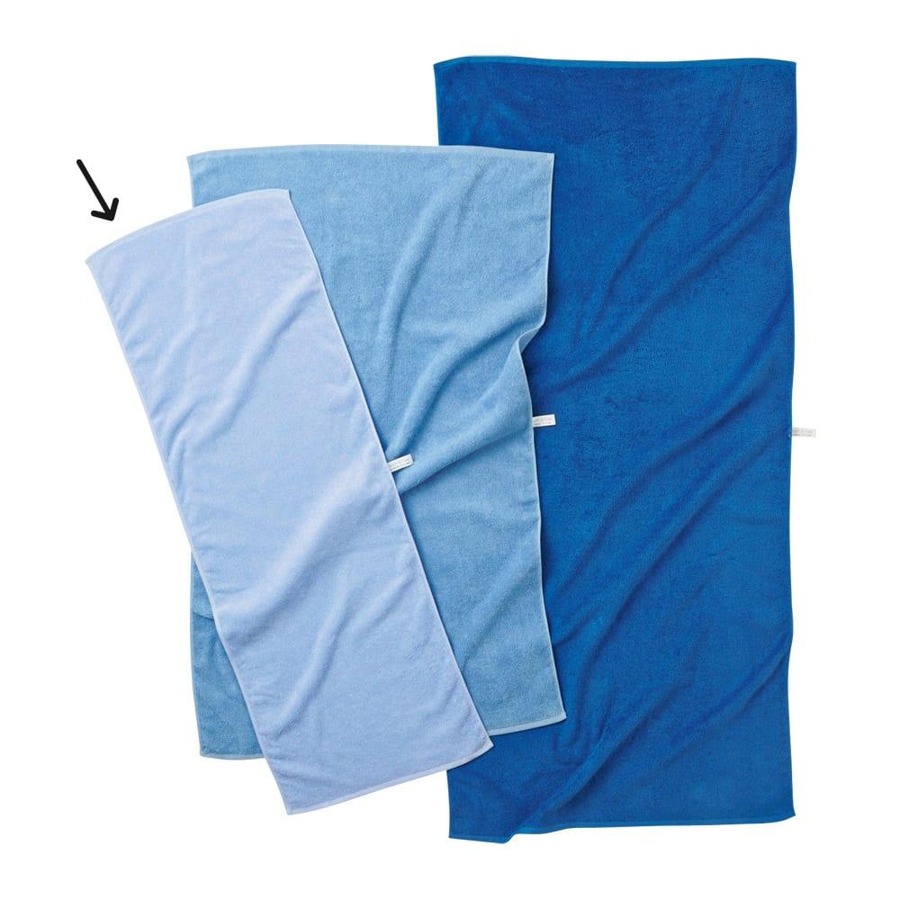 Blue on Blue(ブルーオンブルー) タオル ロングフェイスタオル 色が選べる3枚 左からスカイブルー、マリンブルー、コバルトブルー ※お届けはロングフェイスタオルです。