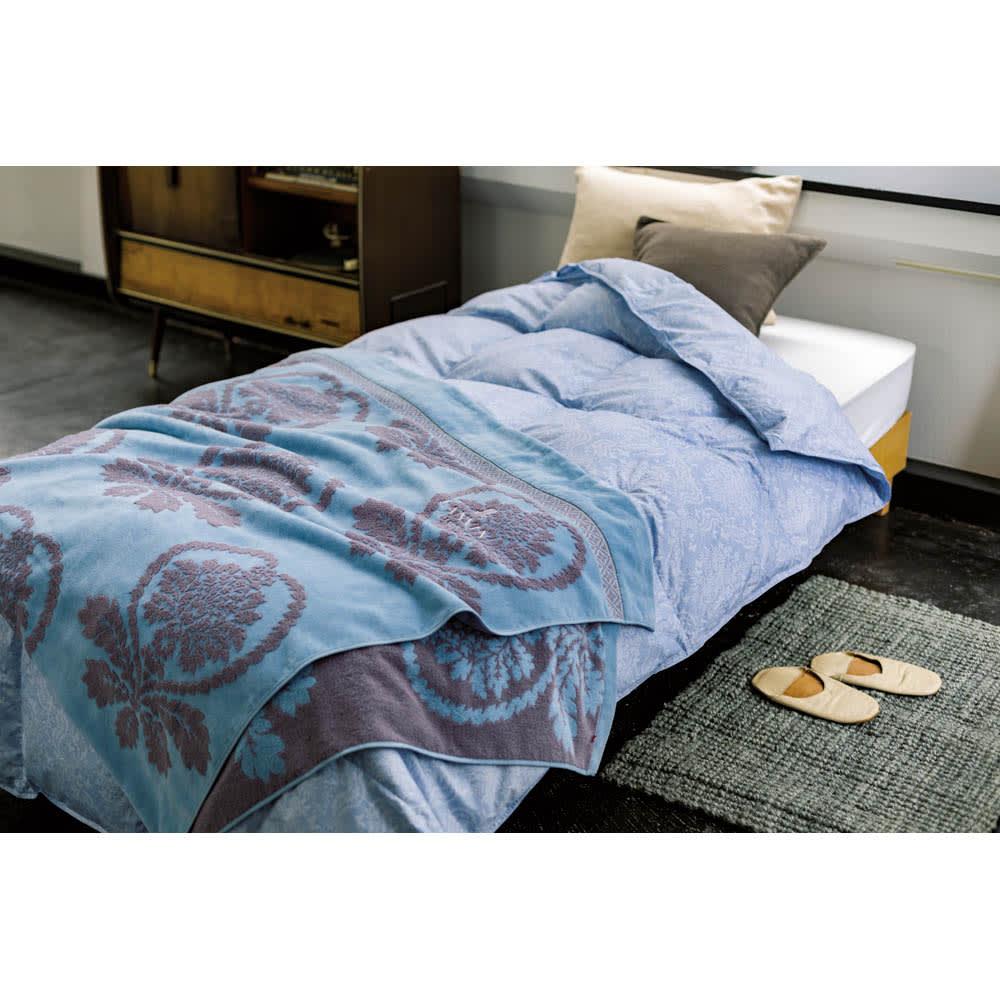 LANVIN COLLECTION タオルケット シングル (ア)ブルー系  ※お届けは上のタオルケットのみになります。