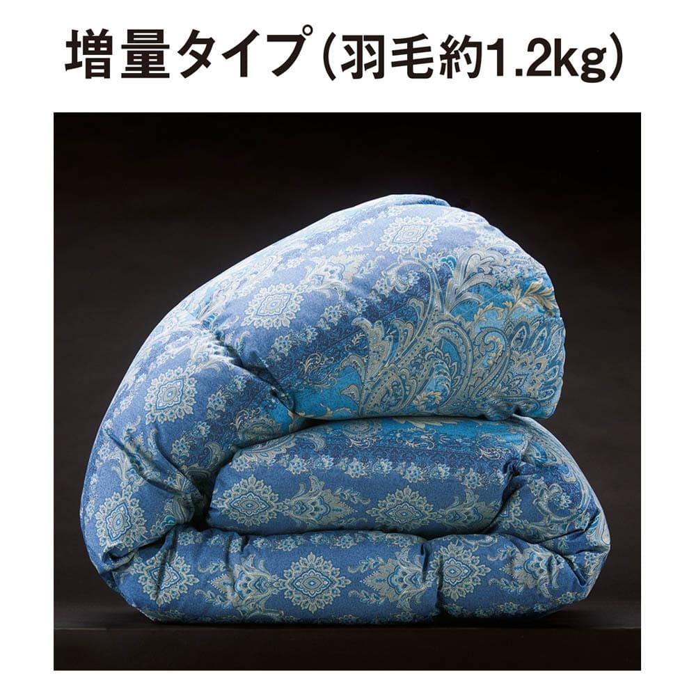 バーゲン寝具シリーズ 羽毛布団(羽毛増量タイプ) シングルロング (イ)ブルー系 羽毛布団は3タイプから選べます。寒い地域や一戸建てには「増量タイプ」で暖かく。
