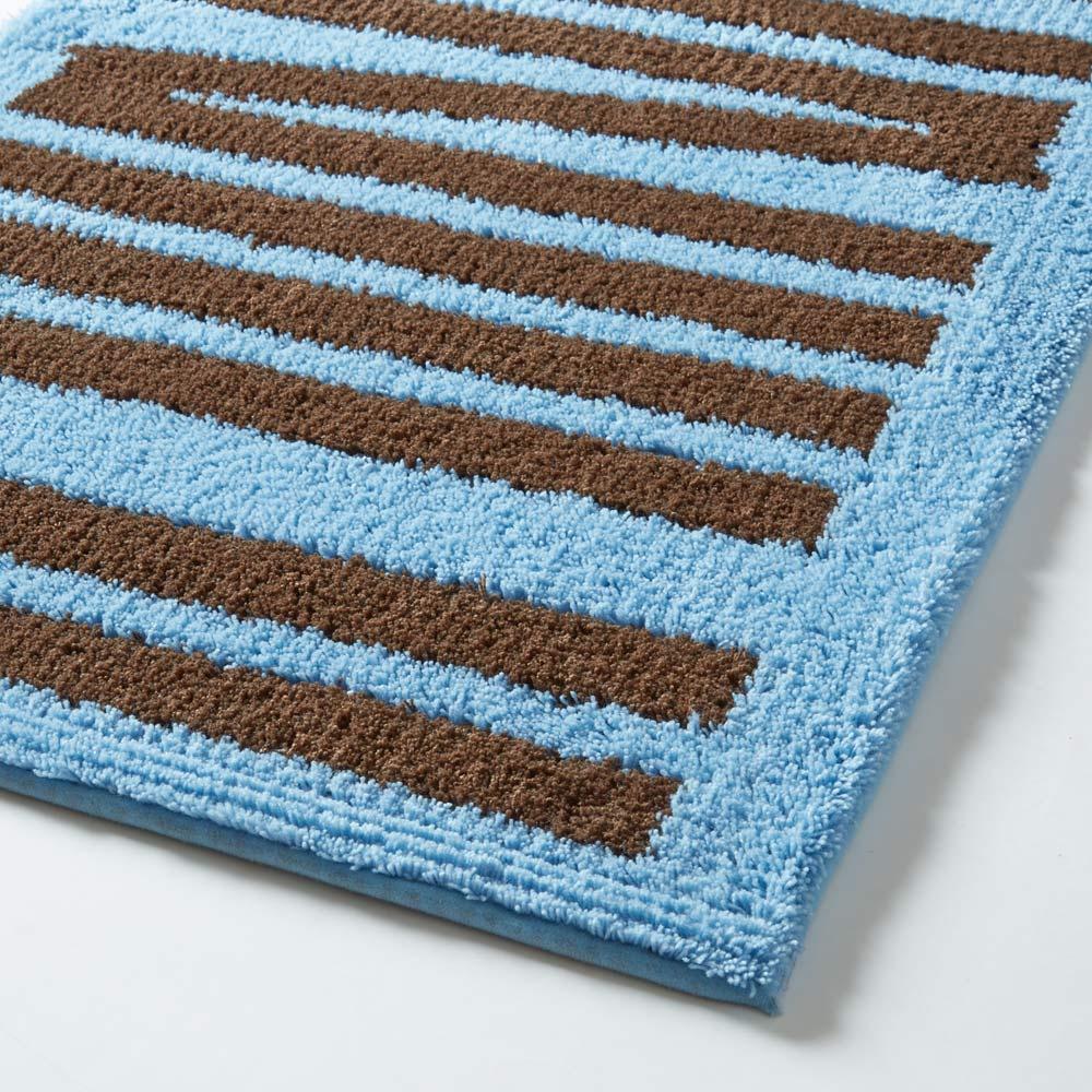 抗菌防臭加工スティック柄キッチンマット 約50×180cm ブルー