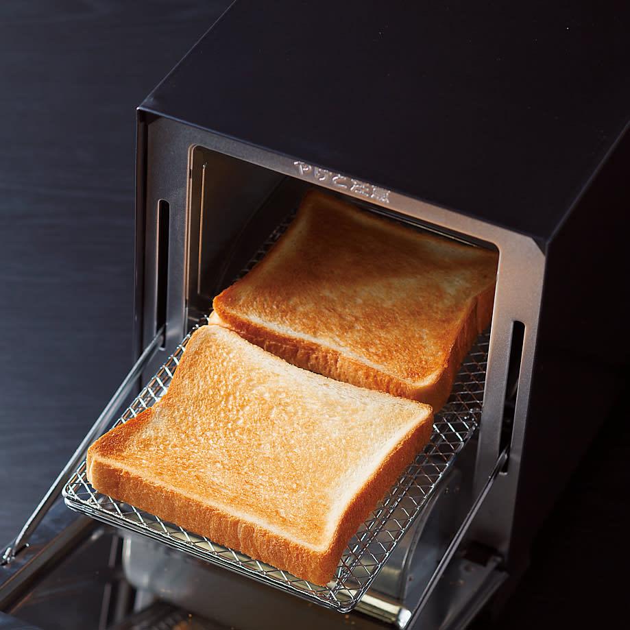 ミラーガラス オーブントースター スリムサイズ スリムながら食パン2枚がラクラク。