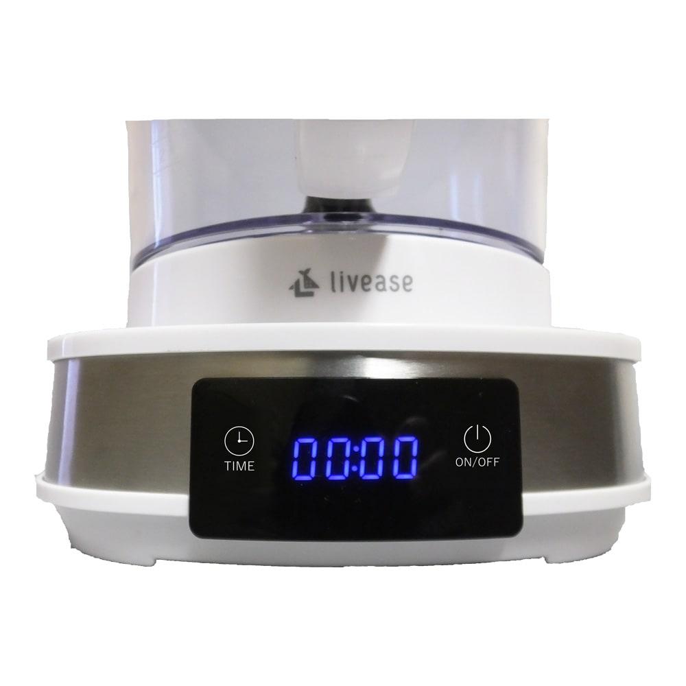 リヴィーズ 電動水出しコーヒーメーカー 3)Timeボタンで時間を設定し、On/Offボタンを押すと抽出が始まります。抽出時間は10~40分間の間で、Timeボタンを一度押すごとに10分単位で設定できます。