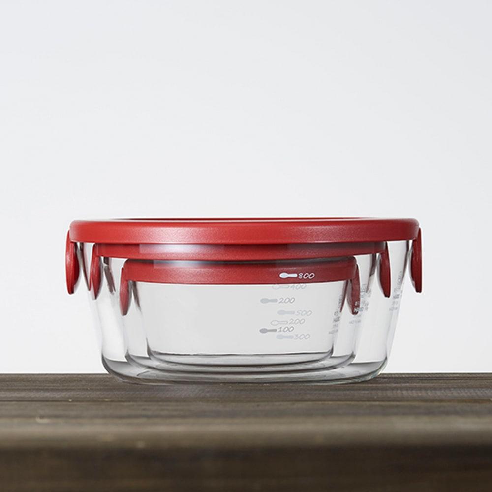 HARIO ハリオ 耐熱ガラス保存容器 丸型 同色6個セット  収納はコンパクト