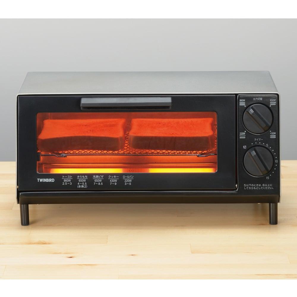 トーストが美味しいコンパクトミラーオーブントースター 近火ヒーターと食材の距離が近いので、外はカリッと中はもっちりに。
