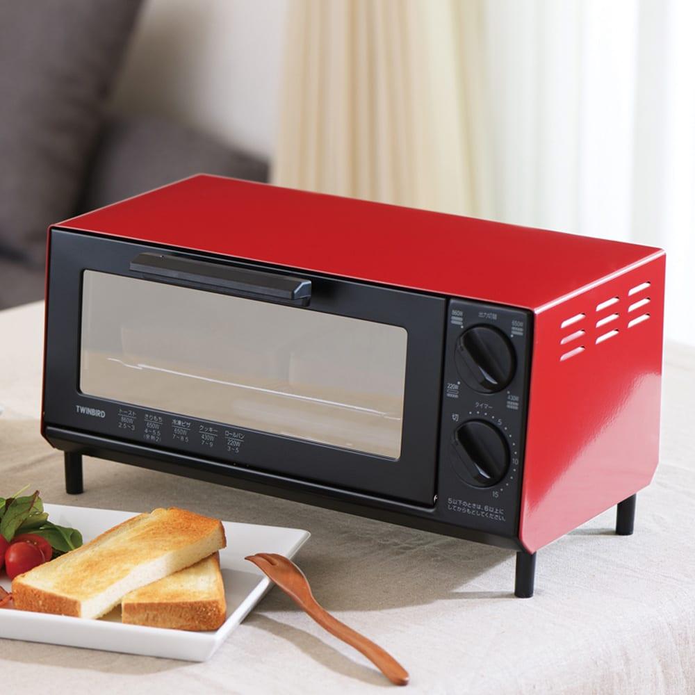 トーストが美味しいコンパクトミラーオーブントースター (イ)レッド