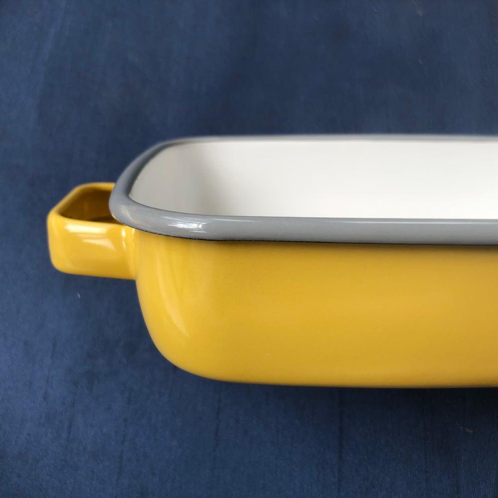 調理もできるホーロー容器 ホーローオーブンディッシュ1個 スクエア 1.8L (ウ)イエロー