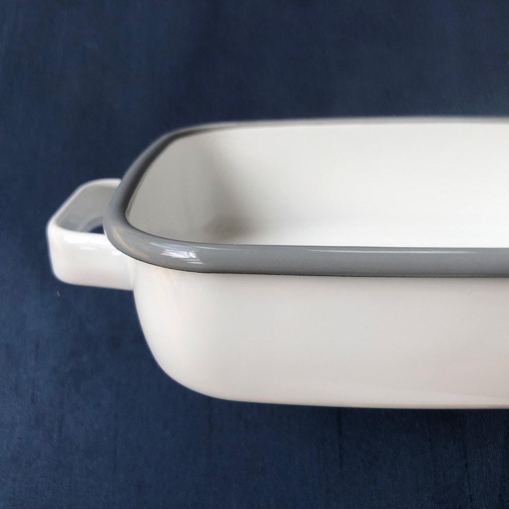 調理もできるホーロー容器 ホーローオーブンディッシュ1個 スクエア 1.8L (ア)ホワイト