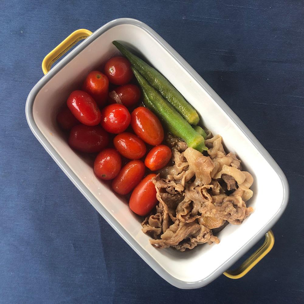 調理もできるホーロー容器 ホーローオーブンディッシュ1個 レクタングル 1.0L 揚げびたしや、焼き浸しなどの常備菜に。