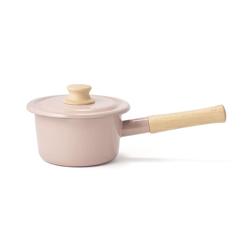 富士ホーロー コットンシリーズ 14cm ホーロー ミルクパン 片手鍋 (ウ)アッシュピンク