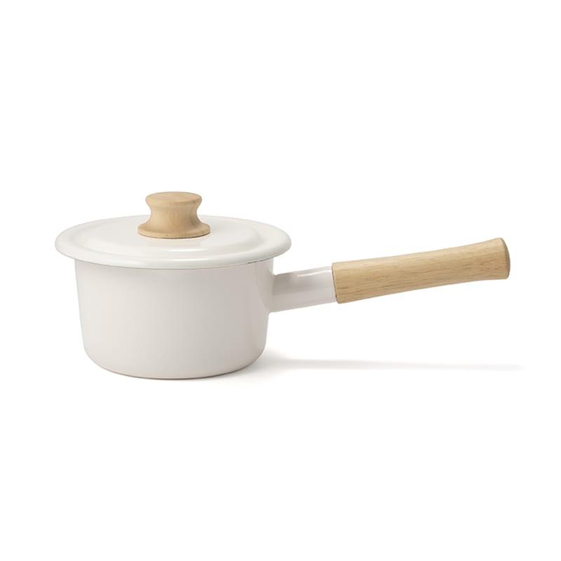 富士ホーロー コットンシリーズ 14cm ホーロー ミルクパン 片手鍋 (ア)ホワイト