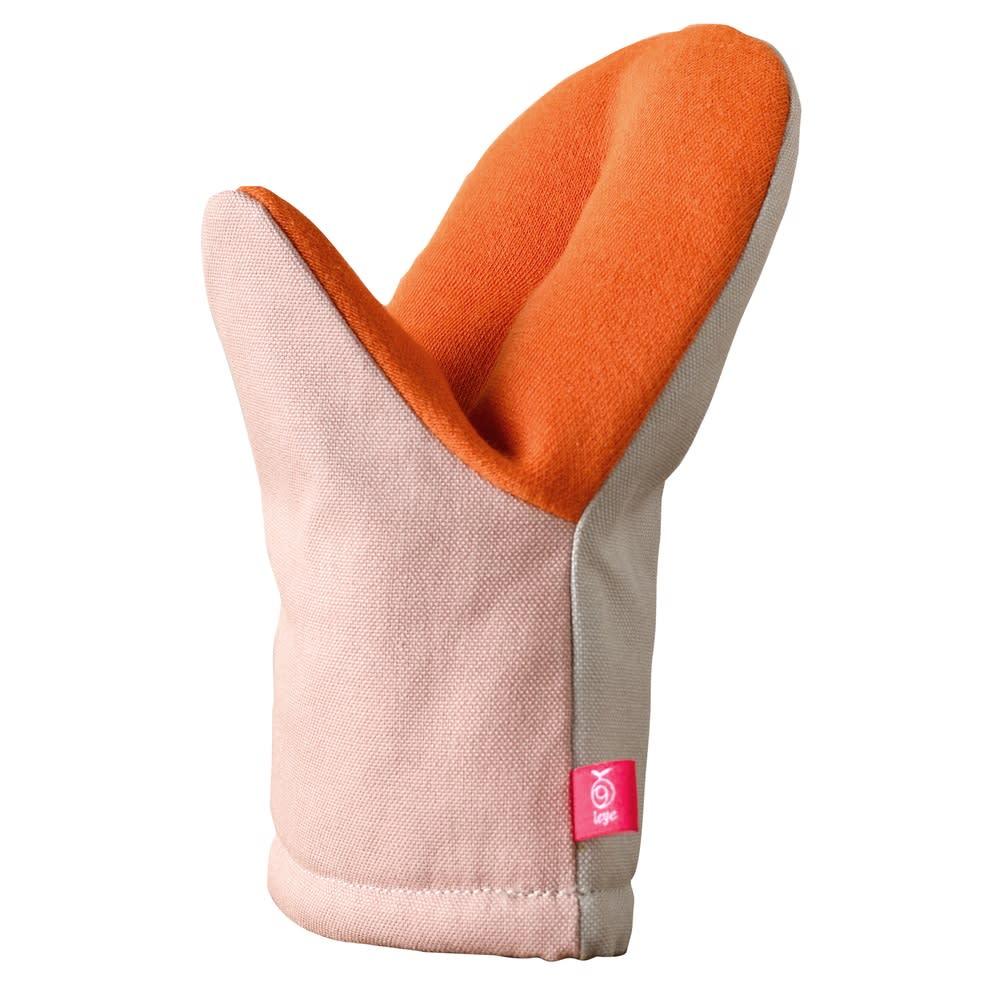 アツアツ料理の熱から手を守る、グッとつかめる耐熱ミトン (ア)ピンク/グレー