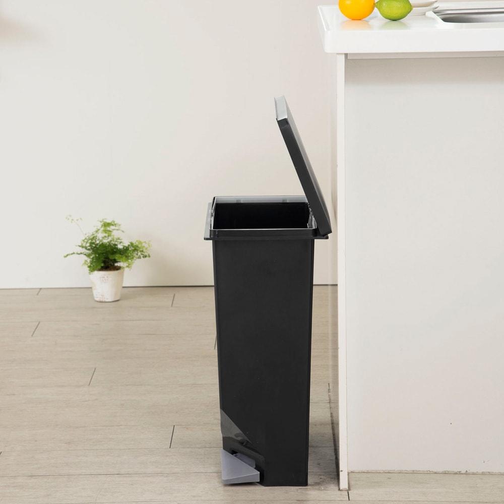 ユニード スイッチペダル35 スリムダストボックス ゴミ箱 (ア)ブラック