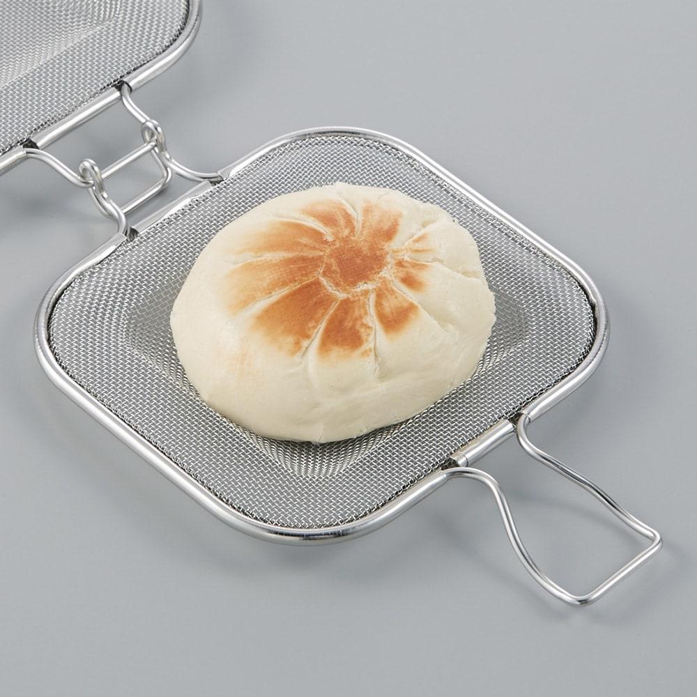 トースターや魚焼きグリルで ホットサンド グリルホットサンドメッシュ 市販の肉まんを挟んで焼けばおやき風に!