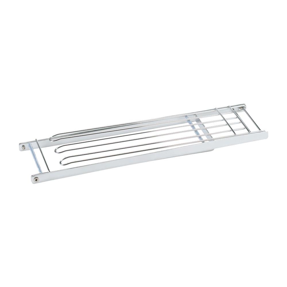 コンパクトに畳めて便利なステンレス製フキンスタンド 小 [収納時]折りたためばフラットになって、引き出しやすき間に収納OK。