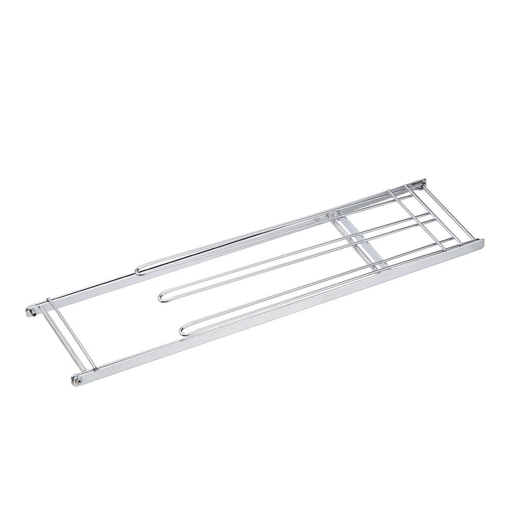 コンパクトに畳めて便利なステンレス製フキンスタンド 大 〈収納時〉折りたためばフラットになって、引き出しや、すき間に収納OK。
