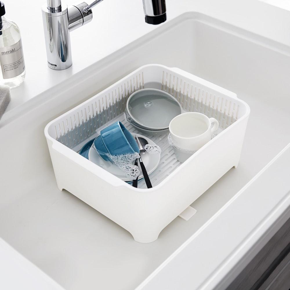 漬け置きできる 水切りラック洗い桶セット  タワー