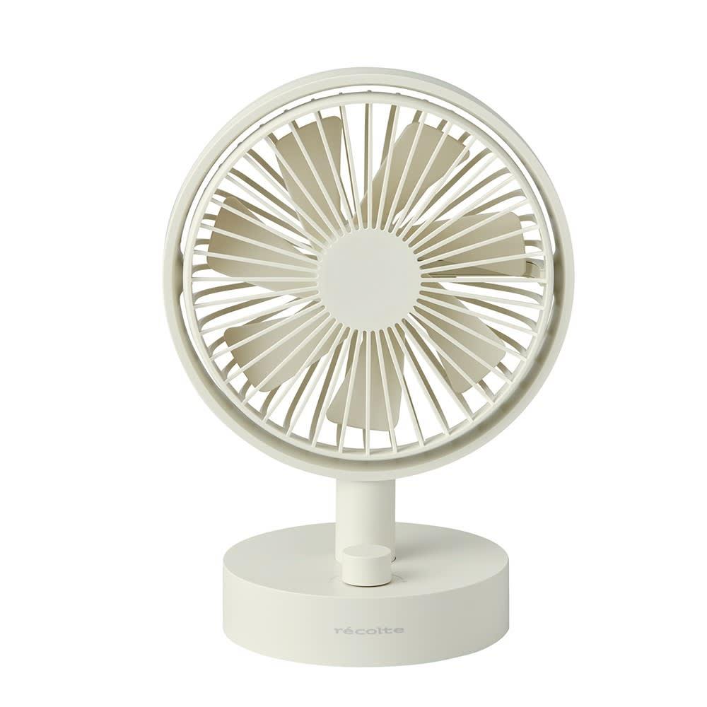 recolte/レコルト キッチンや寝室に!充電式コードレステーブルファン 扇風機 (イ)ホワイト